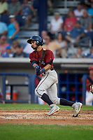 Mahoning Valley Scrappers second baseman Jose Fermin (12) follows through on a swing during a game against the Williamsport Crosscutters on August 28, 2018 at BB&T Ballpark in Williamsport, Pennsylvania.  Williamsport defeated Mahoning Valley 8-0.  (Mike Janes/Four Seam Images)