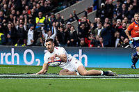 Jonny May of England scores his try during the Guinness Six Nations match between England and Italy at Twickenham Stadium on March 9th, 2019 in London, United Kingdom. Photo by Liam McAvoy.