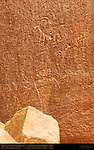 Fremont Culture Petroglyphs, Anthropomorph in Headdress and Bighorn Sheep, Fruita Petroglyph Panels, Capitol Reef National Park, South-Central Utah