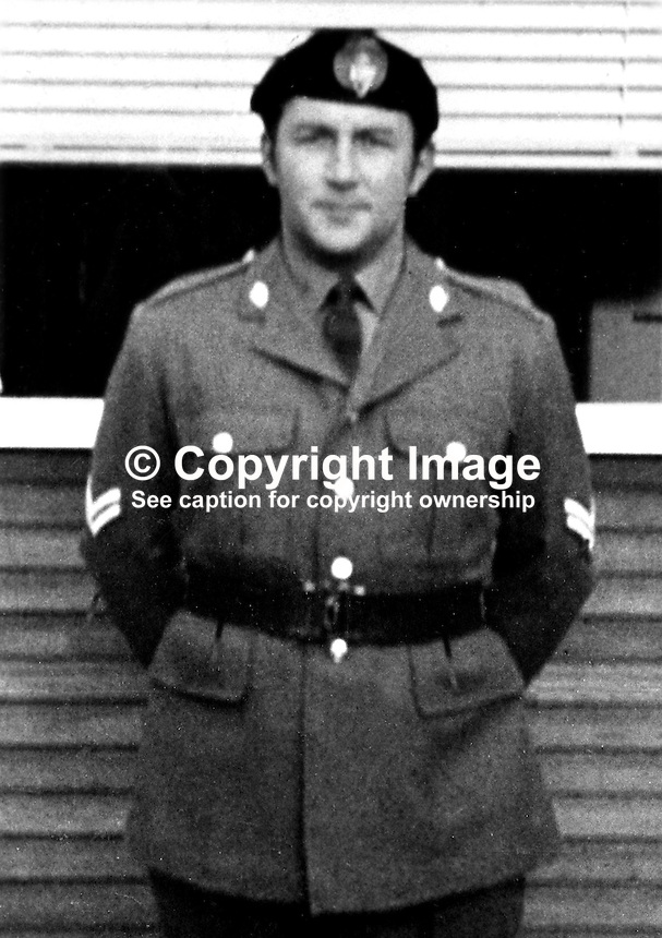 Irwin Long, 2nd Lieutenant, UDR, Ulster Defence Regiment, from Lurgan, Craigavon, N Ireland, who was shot dead by the Provisional IRA as he was driving through his home town on his way to collect his 4 years old daughter. The shooting took place on 8th November 1972. 197211080769b.<br />