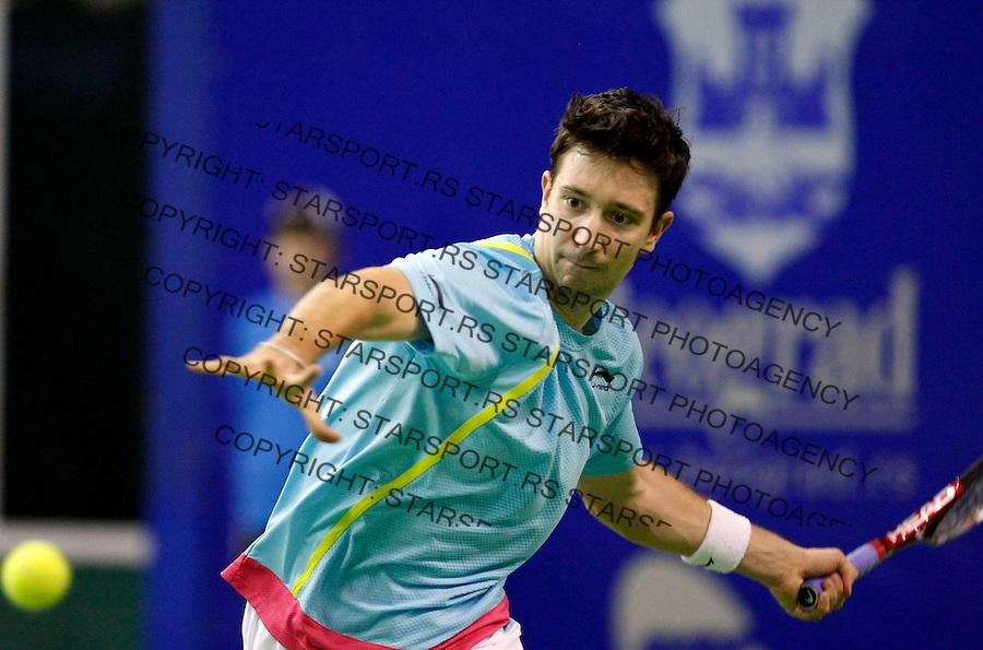 Tennis.Gemax Open 2010.Alex Bogdanovic (GBR) Vs. Michal Przysiezny (POL).Alex Bogdanovic returnes.Belgrade, 17.02.2010..foto: Srdjan Stevanovic©