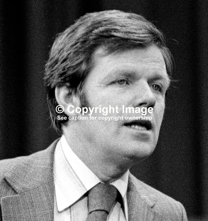 Joe McCartin, senator, Fine Gael, Rep of Ireland, Ard Fheis, Dublin, 1981000066JMC1.<br /> <br /> Copyright Image from Victor Patterson, 54 Dorchester Park, Belfast, UK, BT9 6RJ<br /> <br /> t1: +44 28 9066 1296 (from Rep of Ireland 048 9066 1296)<br /> t2: +44 28 9002 2446 (from Rep of Ireland 048 9002 2446)<br /> m: +44 7802 353836<br /> <br /> victorpatterson@me.com<br /> www.victorpatterson.com<br /> <br /> Please see my Terms and Conditions of Use at victorpatterson.com . It is IMPORTANT that you familiarise yourself with them.<br /> <br /> Images used on the Internet incur an additional cost and must be visibly watermarked i.e. &copy;Victor Patterson within the body of the image and copyright metadata must not be deleted. Images used on the Internet have a size restriction of 4kbs and are chargeable at rates available at victorpatterson.com.<br /> <br /> This image is only available for the use of the download recipient i.e. television station, newspaper, magazine, book publisher, etc, and must not be passed on to any third party. It is also downloaded on condition that each and every usage is notified within 7 days to victorpatterson@me.com<br /> <br /> The right of Victor Patterson to be identified as the author is asserted in accordance with The Copyright Designs And Patents Act (1988). All moral rights are asserted.