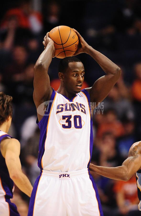 Dec. 8, 2010; Phoenix, AZ, USA; Phoenix Suns center (30) Earl Barron against the Memphis Grizzlies at the US Airways Center. Mandatory Credit: Mark J. Rebilas-