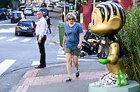 SAO PAULO, SP, 19.11.2013 -O Coelho Sansão da estátua da Mônica que está na Rua Bela Cintra com a Alameda Tietê, nos Jardins, foi roubado nesta madrugada.(Foto:Adriano LIma / Brazil Photo Press).