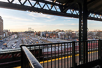 Astoria, New York - 11 March 2016 View from the elevated Subway station with the Triborough Bridge in the distance.