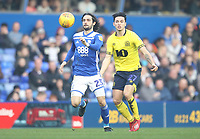 Birmingham City's Jota in action with Blackburn Rovers Lewis Travis<br /> <br /> Photographer Mick Walker/CameraSport<br /> <br /> The EFL Sky Bet Championship - Birmingham City v Blackburn Rovers - Saturday 23rd February 2019 - St Andrew's - Birmingham<br /> <br /> World Copyright © 2019 CameraSport. All rights reserved. 43 Linden Ave. Countesthorpe. Leicester. England. LE8 5PG - Tel: +44 (0) 116 277 4147 - admin@camerasport.com - www.camerasport.com