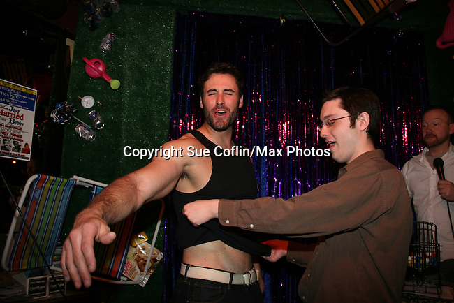 Matthew Pender (former Detroit Tiger pitcher) auctions off his shirt for charity on April 28, 2010 at Will Clark's P*rno Bingo at Pieces, New York City, New York to benefit the American Foundation for Suicide Prevention - an event presented by We Love Soaps (Damon Jacobs and Roger Newcomb). (Photos by Sue Coflin/Max Photos)