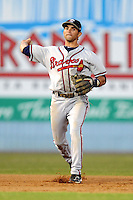Rome Braves shortstop Jose Peraza #4 makes a play in a game against the Asheville Tourists at McCormick Field on May 24, 2013 in Asheville, North Carolina. The Tourists won the game 6-0. (Tony Farlow/Four Seam Images).