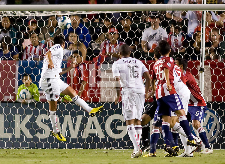 DC United forward Jaime Moreno heads a ball towards the goal. CD Chivas USA beat DC United 1-0 at Home Depot Center stadium in Carson, California on Sunday August 29, 2010.