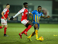 Fleetwood Town's Jordy Hiwula battles with Shrewsbury Town's Abu Ogogo<br /> <br /> Photographer Alex Dodd/CameraSport<br /> <br /> The EFL Sky Bet League One - Fleetwood Town v Shrewsbury Town - Tuesday 13th February 2018 - Highbury Stadium - Fleetwood<br /> <br /> World Copyright &copy; 2018 CameraSport. All rights reserved. 43 Linden Ave. Countesthorpe. Leicester. England. LE8 5PG - Tel: +44 (0) 116 277 4147 - admin@camerasport.com - www.camerasport.com