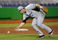 Florida International University infielder Mike Martinez (40) plays against the Miami Marlins, which won the game 5-1 on March 7, 2012 at Miami, Florida. .