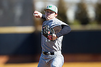 Marshall Thundering Herd starting pitcher Josh King (11) delivers a pitch to the plate against the Georgetown Hoyas at Wake Forest Baseball Park on February 15, 2014 in Winston-Salem, North Carolina.  The Thundering Herd defeated the Hoyas 5-1.  (Brian Westerholt/Four Seam Images)