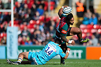 Manu Tuilagi of Leicester Tigers is tackled by Bryce Heem of Worcester Warriors. Gallagher Premiership match, between Leicester Tigers and Worcester Warriors on September 21, 2018 at Welford Road in Leicester, England. Photo by: Patrick Khachfe / JMP