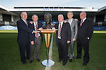 John Gilligan, Willie Johnston, Alex MacDonald, Alex Miller and Colin Stein at Ibrox Stadium as they pose with the remarkable bronze bust of Rangers legend Sandy Jardine