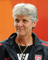 Pia Sundhage, Head Coach of the USA national team, arrives during the FIFA Women's World Cup 2011 in Germany the Maritim Hotel in Dresden, Germany on June 23th, 2011.