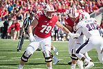 Wisconsin Badgers offensive lineman David Edwards (79) during an NCAA College Football game against the Florida Atlantic Owls Saturday, September 9, 2017, in Madison, Wis. The Badgers won 31-14. (Photo by David Stluka)