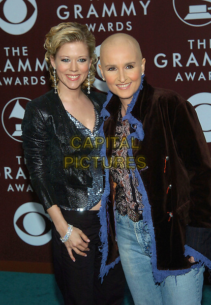 MELISSA ETHERIDGE & TAMMIE LYNN MICHAELS.47th Annual Grammy Awards - Arrivals. Los Angeles, California .February 13th, 2005.Photo Credit: Jacqui Wong/AdMedia.half length sequins blue trim brown jacket coat shaved head bald.www.capitalpictures.com.sales@capitalpictures.com.© Capital Pictures.