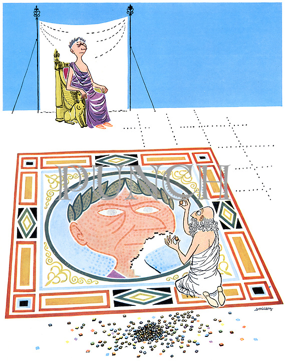 (An artist making a portrait of a Roman Emperor on a mosaic floor has the emperor sitting for him to copy)