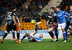 St Johnstone v Kilmarnock....09.01.16  Scottish Cup  McDiarmid Park, Perth<br /> Graham Cummins tries an overhead kick<br /> Picture by Graeme Hart.<br /> Copyright Perthshire Picture Agency<br /> Tel: 01738 623350  Mobile: 07990 594431