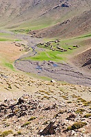 Picture of a Berber village at Oukaimeden, High Atlas Mountains, Morocco, North Africa, Africa. This picture of a Berber, nomadic village was taken in the High Atlas Mountains of Morocco, just outside Oukaimeden, the highest point at which you can ski in Africa.