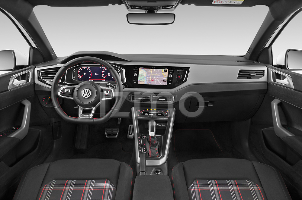Stock photo of straight dashboard view of a 2018 Volkswagen Polo GTI 5 Door Hatchback