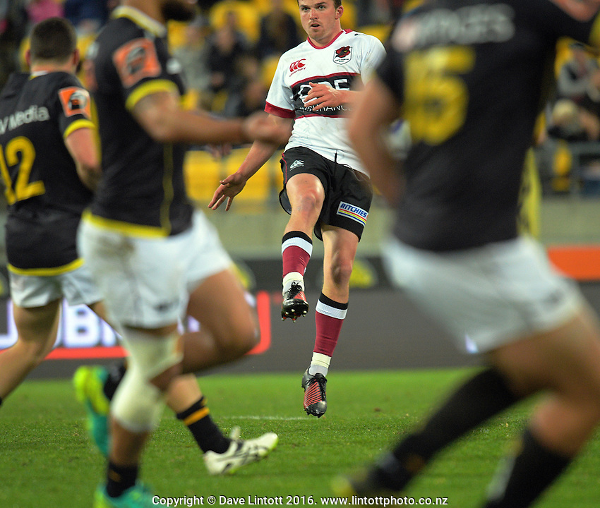 Bryn Gatland clears during the Mitre 10 Cup rugby union match between Wellington Lions and North Harbour at Westpac Stadium, Wellington, New Zealand on Saturday, 3 September 2016. Photo: Dave Lintott / lintottphoto.co.nz