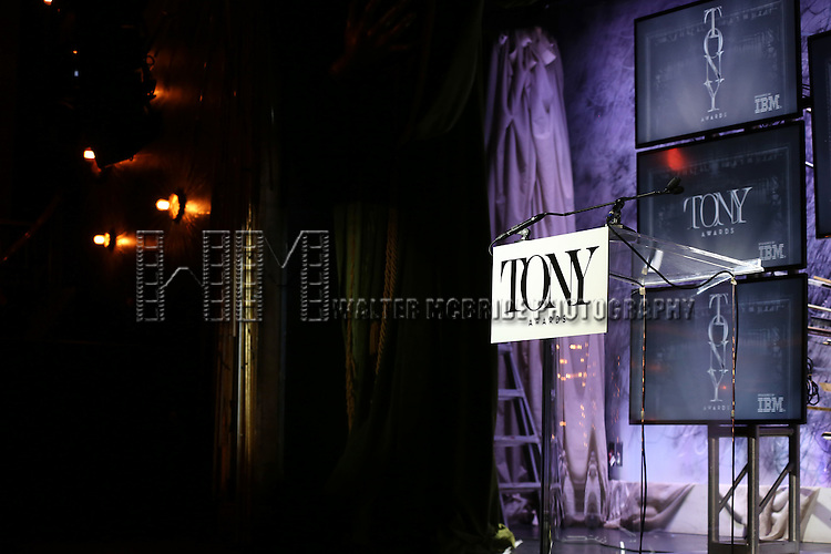 The stage during the American Theatre Wing's 70th Annual Tony Awards Nominations at Diamond Horseshoe at the Paramount Hotel on May 3, 2016 in New York City.