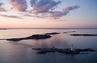 Sunset at Boston lighthouse, aerial, Boston, MA Boston harbor, Little Brewster Island
