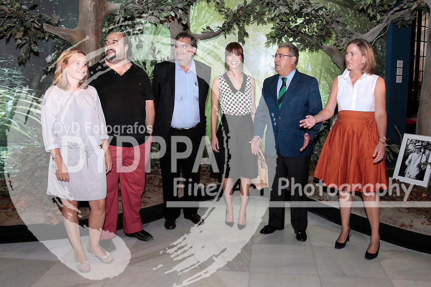 """Seville City Mayor Juan Ignacio Zoido, acompanied by the Cultural action general director Mrs. Elvira Marco. President of the Academy of Motion Picture Arts and Sciences in Spain, Enrique González Macho and actress Maribel Verdu presents """"Journey to the Spanish cinema 27 years of the Goya awards"""" in Seville on September 09, 2013.Photo: Manuel Olmedo/Sevilla Press/ DyD Fotografos-DYDPPA"""