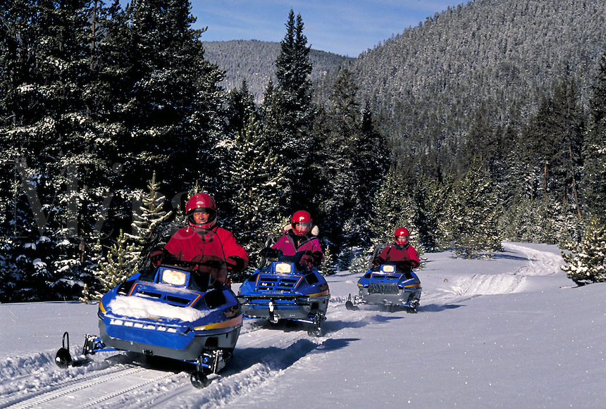 Friends snowmobiling, Summit County, CO. Summit County, Colorado.