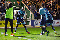 Myles Weston of Wycombe Wanderers celebrates scoring his side's third goal with a rocking the baby celebration during the Sky Bet League 2 match between Plymouth Argyle and Wycombe Wanderers at Home Park, Plymouth, England on 26 December 2016. Photo by Mark  Hawkins / PRiME Media Images.