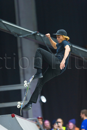25.02.2016. Warehouse 13  Oslo, Norway.  X Games Oslo 2016. Mens Skateboard final. Curren Caples of Unied States competes in the men's skateboard street final  during the X Games Oslo 2016 at the warehouse 13  in Oslo, Norway.
