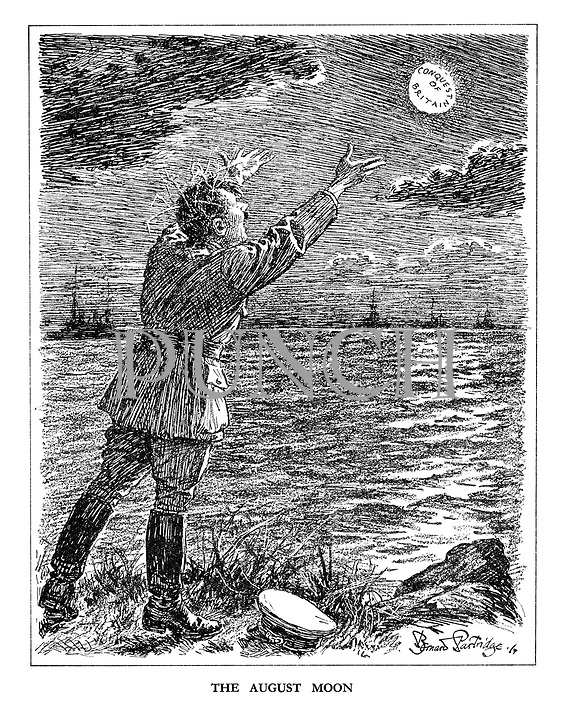 The August Moon (Hitler as the madman from Shakespeare's King Lear bays at the Conquest of Britain moon while silhouettes of British warships wait on the horizon)