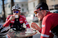 mid ride coffee brake for John Degenkolb (DEU/Trek-Segafredo) &amp; teammates<br /> <br /> Team Trek-Segafredo Training Camp <br /> january 2017, Mallorca/Spain