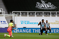 Players take the knee<br /> <br /> Photographer Alex Dodd/CameraSport<br /> <br /> FA Cup Quarter-Final - Newcastle United v Manchester City - Sunday 28th June 2020 - St James' Park - Newcastle<br />  <br /> World Copyright © 2020 CameraSport. All rights reserved. 43 Linden Ave. Countesthorpe. Leicester. England. LE8 5PG - Tel: +44 (0) 116 277 4147 - admin@camerasport.com - www.camerasport.com
