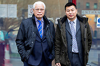 Pictured: Wai Chim (Right) and His father Mr Chim (Left) outside Cardiff magistrates court in Cardiff, Wales, UK. Thursday 13 February 2020<br /> Re: A Chinese restaurant is facing possible closure after complaints about the smells coming from the kitchen by a judge who lives nearby. Lord Justice Sir Gary Hickingbottom, 64, said the aromas from The Summer Palace were wafting into their £525,000 home near Llanfaff Cathedral, Cardiff. The local council has upheld the complaint meaning the restaurant, which has been there for 30 years, is facing court action.