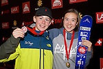 Pix: Shaun Flannery/shaunflanneryphotography.com<br /> <br /> COPYRIGHT PICTURE>>SHAUN FLANNERY>01302-570814>>07778315553>><br /> <br /> 15th October 2016<br /> British Indoor Slopestyle Championships 2016<br /> Chill Factore, Manchester<br /> <br /> Mason Flannery (3rd u'16 men) and Millie Wilkinson (2nd u'15 ladies)