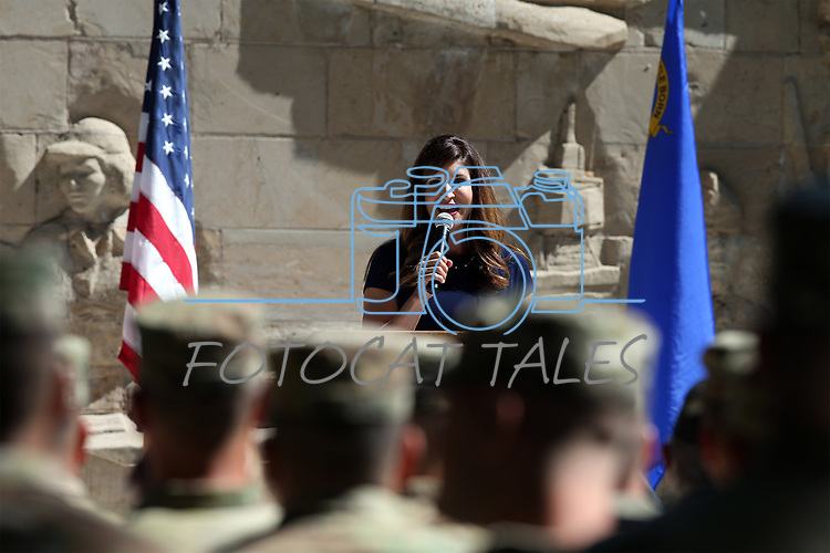 Kristen Remington emcees the annual Flag Day ceremony and Army's 243rd birthday celebration at the Nevada Veterans Memorial in Carson City, Nev., on Thursday, June 14, 2018. <br /> Photo by Cathleen Allison/Nevada Momentum
