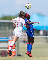 Bradenton, FL - Sunday, June 12, 2018: Caitlin Shaw, Danielle Etienne prior to a U-17 Women's Championship 3rd place match between Canada and Haiti at IMG Academy. Canada defeated Haiti 2-1.