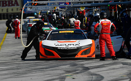 Pirelli World Challenge<br /> Intercontinental GT Challenge California 8 Hours<br /> Mazda Raceway Laguna Seca<br /> Sunday 15 October 2017<br /> Ryan Eversley, Tom Dyer, Dane Cameron, Acura NSX GT3, GT3 Overall pit stop<br /> World Copyright: Richard Dole<br /> LAT Images<br /> ref: Digital Image RD_PWCLS17_323