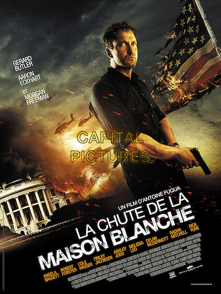 FRENCH POSTER ART<br /> in Olympus Has Fallen (2013) <br /> (La chute de la Maison Blanche)<br /> *Filmstill - Editorial Use Only*<br /> CAP/NFS<br /> Image supplied by Capital Pictures