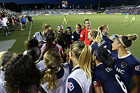 Cary, North Carolina  - Saturday August 05, 2017: North Carolina Courage players huddle before the start of the second half of a regular season National Women's Soccer League (NWSL) match between the North Carolina Courage and the Seattle Reign FC at Sahlen's Stadium at WakeMed Soccer Park. The Courage won the game 1-0.