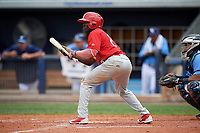 Palm Beach Cardinals left fielder Randy Arozarena (22) squares to bunt during a game against the Charlotte Stone Crabs on April 12, 2017 at Charlotte Sports Park in Port Charlotte, Florida.  Palm Beach defeated Charlotte 8-7.  (Mike Janes/Four Seam Images)
