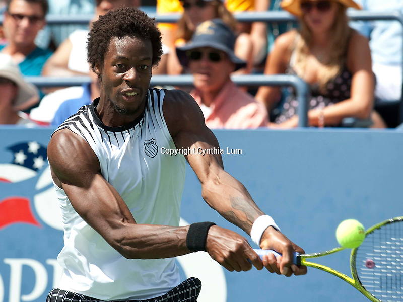 Sept. 4, 2010.Gael Monfils of France, in action, defeating Janko Tipsaravicl in the third round at the US Open, played at the Billie Jean King Tennis Center, Flushing Meadow, NY
