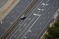 aerial photograph San Francisco Oakland Bay Bridge toll plaza approach lanes