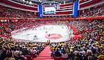 Stockholm 2014-05-03 Ishockey Oddset Hockey Games  Sverige - Finland :  <br /> Vy &ouml;ver Globen under matchen med publik p&aring; l&auml;ktarna<br /> (Foto: Kenta J&ouml;nsson) Nyckelord:  Oddset Hockey Games Sverige Swe Tre Kronor Finland Fin Globen Ericsson Globe Arena inomhus interi&ouml;r interior supporter fans publik supporters
