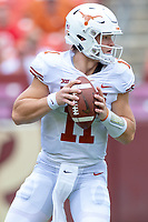 Landover, MD - September 1, 2018: Texas Longhorns quarterback Sam Ehlinger (11) looks down field to pass during game between Maryland and No. 23 ranked Texas at FedEx Field in Landover, MD. The Terrapins upset the Longhorns in back to back season openers with a 34-29 win. (Photo by Phillip Peters/Media Images International)