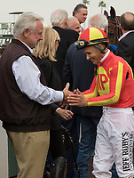 ARCADIA, CA  JANUARY 06: Mike Smith receives congratulations from the owners of McKinzie after winning the Sham Stakes (Grade lll) on January 6, 2018, at Santa Anita Park in Arcadia, CA. (Photo by Casey Phillips/ Eclipse Sportswire/ Getty Images)