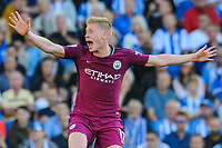 Kevin De Bruyne of Manchester City (17) appeals for handball  during the EPL - Premier League match between Brighton and Hove Albion and Manchester City at the American Express Community Stadium, Brighton and Hove, England on 12 August 2017. Photo by Edward Thomas / PRiME Media Images.