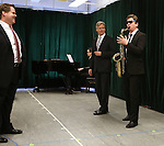 John Treacy Egan, Tom Galantich and Duke Lafoon during the 'Clinton The Musical' - Sneak Peek at Ripley Grier Studios on March 4, 2015 in New York City.